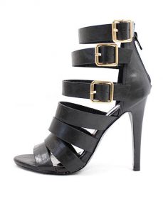 Clara Strappy Gladiator Buckle Black Open Toe Sandals-0