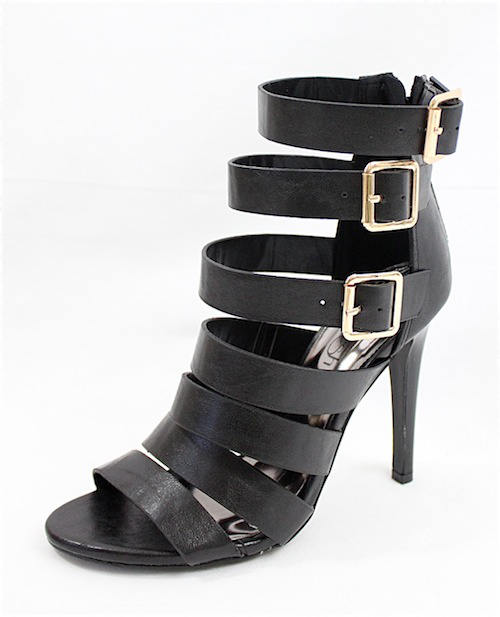 Clara Strappy Gladiator Buckle Black Open Toe Sandals-2292