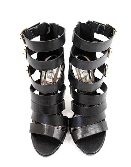Clara Strappy Gladiator Buckle Black Open Toe Sandals-2294