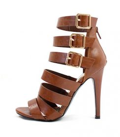 Clara Cognac Strappy Gladiator Buckle Open Toe Sandals-0