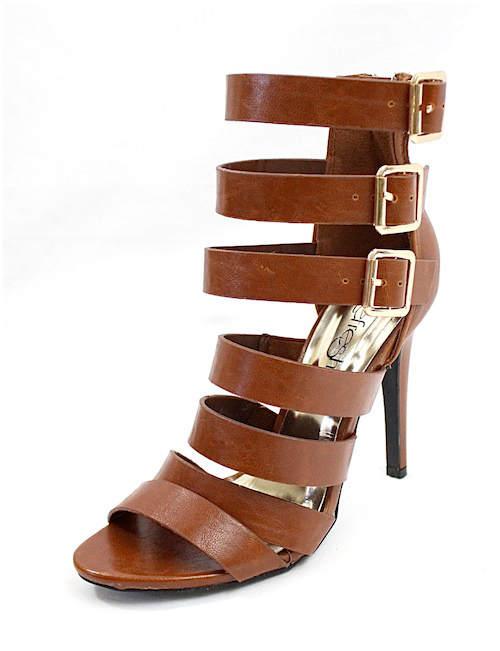 Clara Cognac Strappy Gladiator Buckle Open Toe Sandals-2300