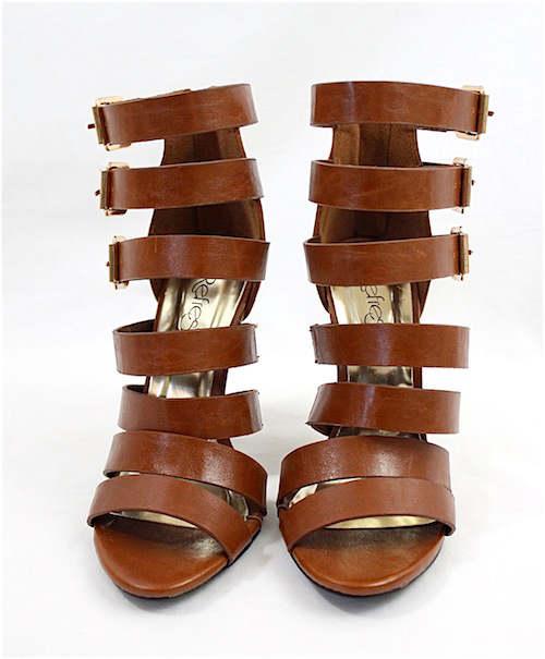 Clara Cognac Strappy Gladiator Buckle Open Toe Sandals-2302