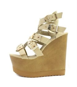 Wild Diva Jordyn-01 Natural Strappy Wedge Sandals-0