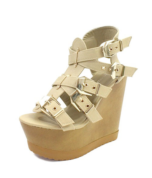 Wild Diva Jordyn-01 Natural Strappy Wedge Sandals-2374