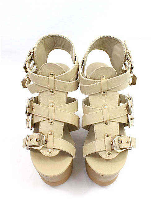 Wild Diva Jordyn-01 Natural Strappy Wedge Sandals-2373