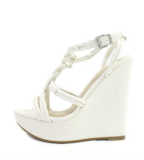 Wild Diva Madison-89 White Strappy Wedge Sandals-0