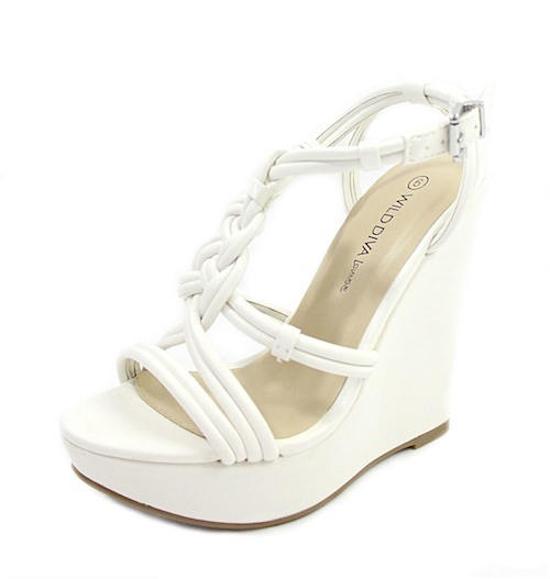 Wild Diva Madison-89 White Strappy Wedge Sandals-2367