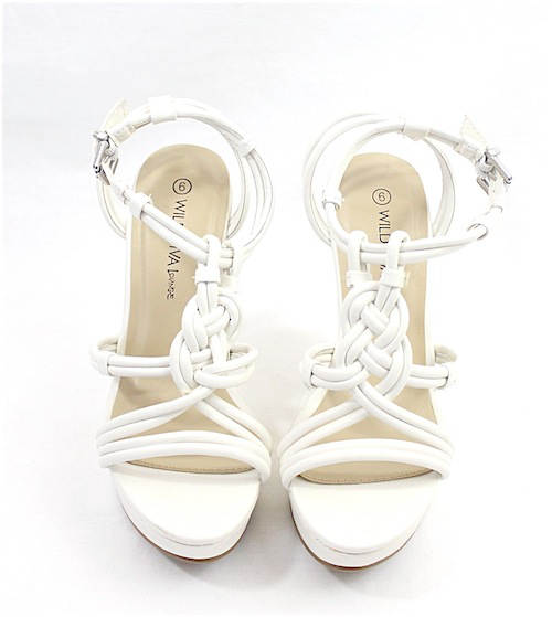 Wild Diva Madison-89 White Strappy Wedge Sandals-2368