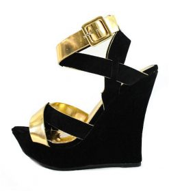 Liliana Malika-52 Black Strappy Buckle Open Toe Wedge Sandals-0
