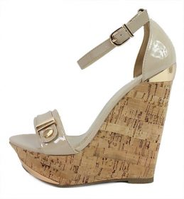 Delicious Nicoya-S Bone Patent Open Toe Wedge-0
