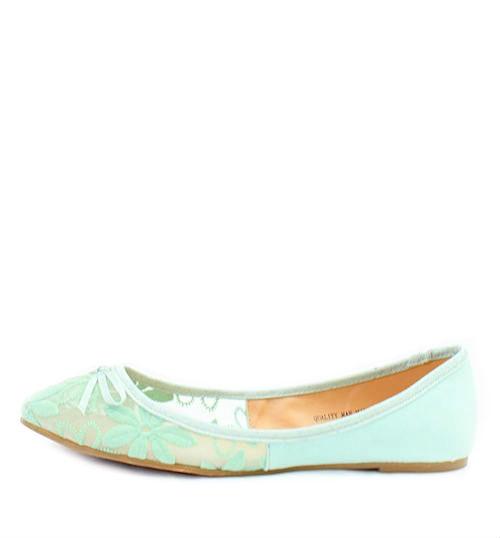 Mixx Toni Green Mesh Bow Tie Flat Ballets -0