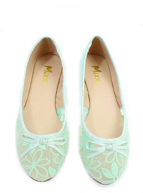 Mixx Toni Green Mesh Bow Tie Flat Ballets -2236