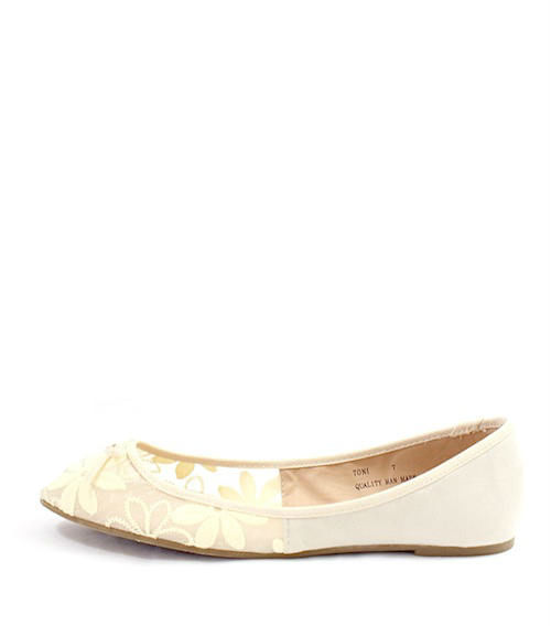 Mixx Toni Beige Mesh Bow Tie Flat Ballets -0