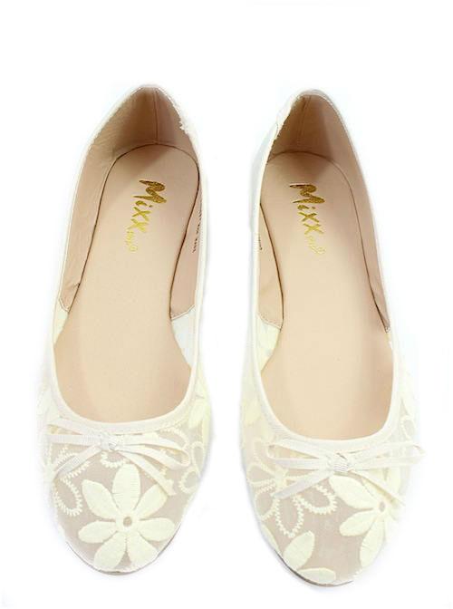 Mixx Toni Beige Mesh Bow Tie Flat Ballets -2240