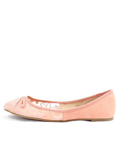 Mixx Toni Pink Mesh Bow Tie Flat Ballets -0