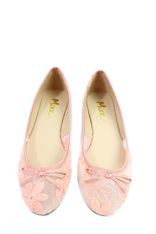 Mixx Toni Pink Mesh Bow Tie Flat Ballets -2228