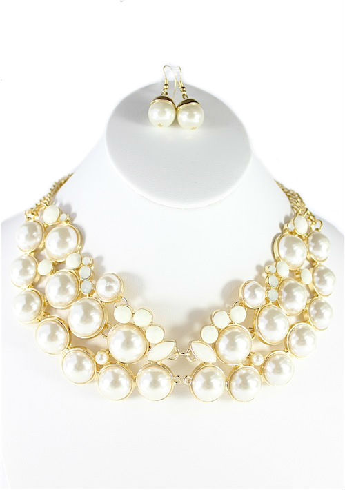 Chain Style Pearl Collar White Pendant Necklace-0