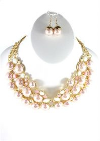 Chain Style Pearl Blush Collar Pendant Necklace-0