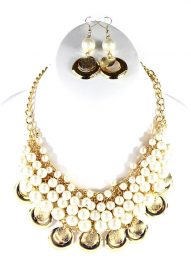 White Pearl Beads Choker Pendant Necklace-0