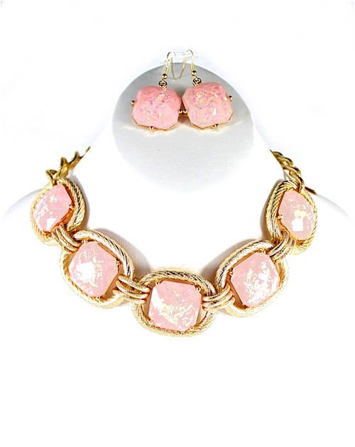Blush square Chain Necklace-0