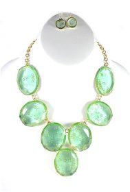 Green Oval Clear Candy Bib Necklace-0