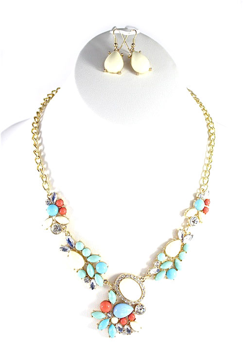 Rhinestone wildflowers Necklace-0