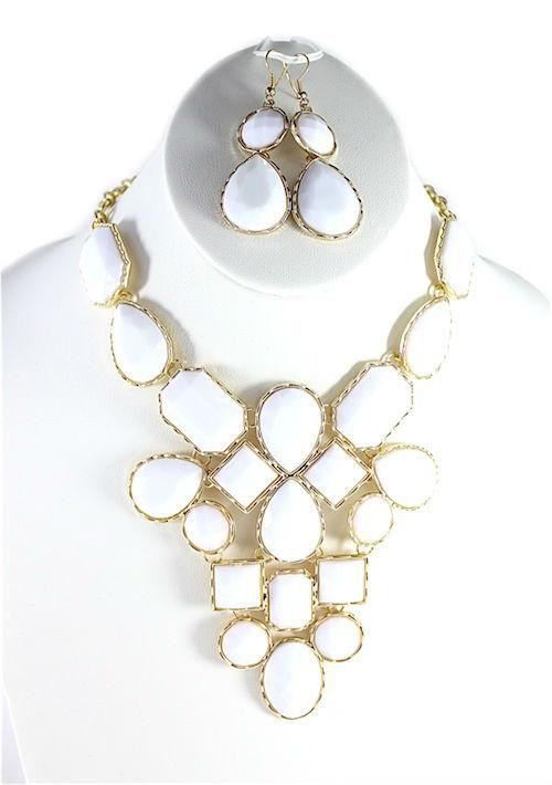 White Bib Teardrop necklace-0