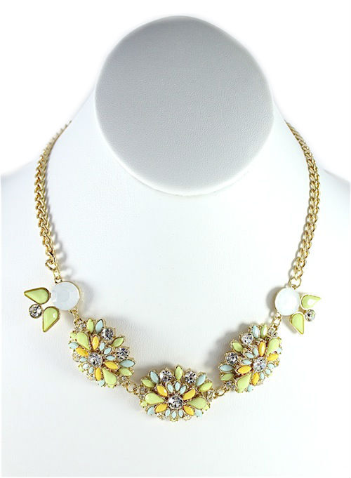 Rhinestone Green wildflowers Necklace-0