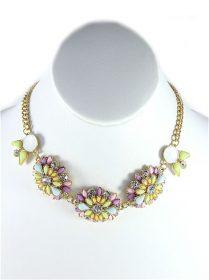 Rhinestone Pink wildflowers Necklace-0