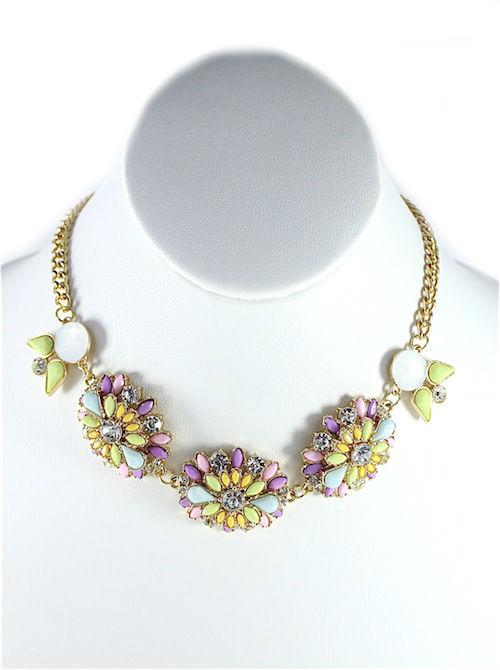 Rhinestone Pink wildflowers Necklace-0