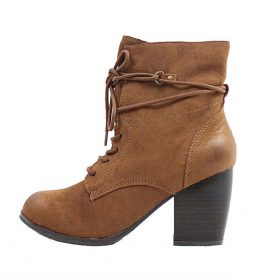 Qupid Maze-35 Rust Lace Up Round Toe Bootie-0