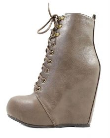 Bamboo Debrah-21 Taupe Lace Up Wedge Bootie-0