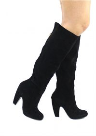 Bamboo Mozza-04 Black Suede Platform Thigh High Boots-0