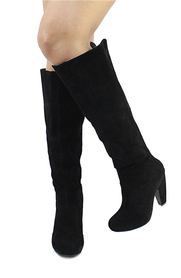 Bamboo Mozza-04 Black Suede Platform Thigh High Boots-2651