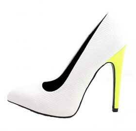 Qupid Virtue-37 White Snake Point Toe Neon Pumps -0