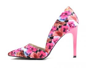 Qupid Mayfair-12 Fuchsia Floral Women Pointy Toe Stiletto Pumps-0