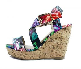 Delicious Baymist-S Black Floral Open Toe Buckle Criss Cross Wedge-0