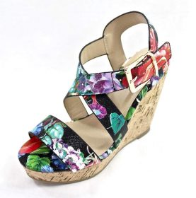 Delicious Baymist-S Black Floral Open Toe Buckle Criss Cross Wedge-3060