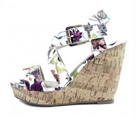 Delicious Baymist-S White Floral Open Toe Buckle Criss Cross Wedge-0
