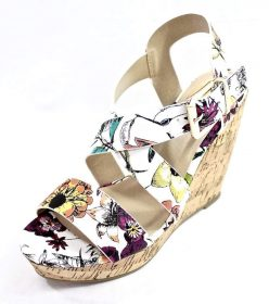 Delicious Baymist-S White Floral Open Toe Buckle Criss Cross Wedge-3055