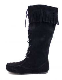 Bamboo Black Circus-05 Fringe Moccasin Flat Boot-0