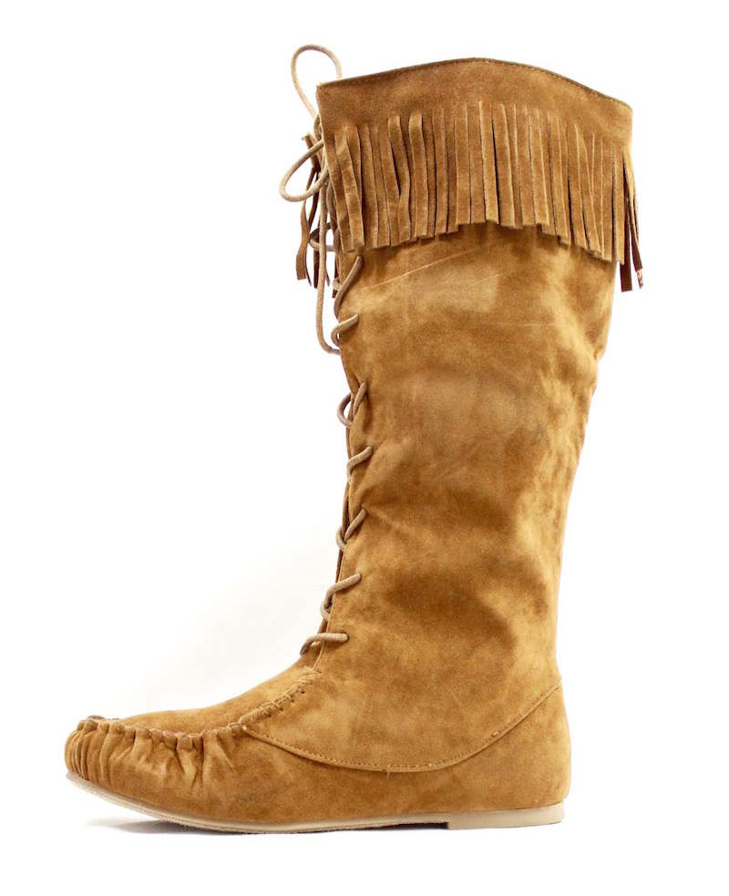 Bamboo Chestnut Circus-05 Fringe Moccasin Flat Boot-0