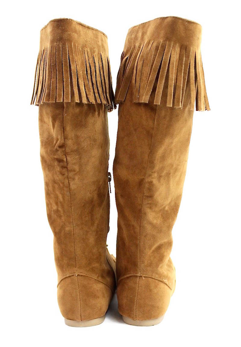 Bamboo Chestnut Circus-05 Fringe Moccasin Flat Boot-3281