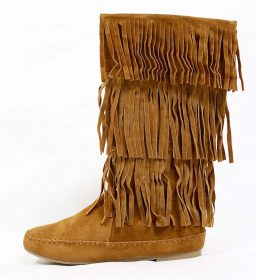 Bamboo Chestnut Circus-06 Fringe Moccasin Flat Boot-0