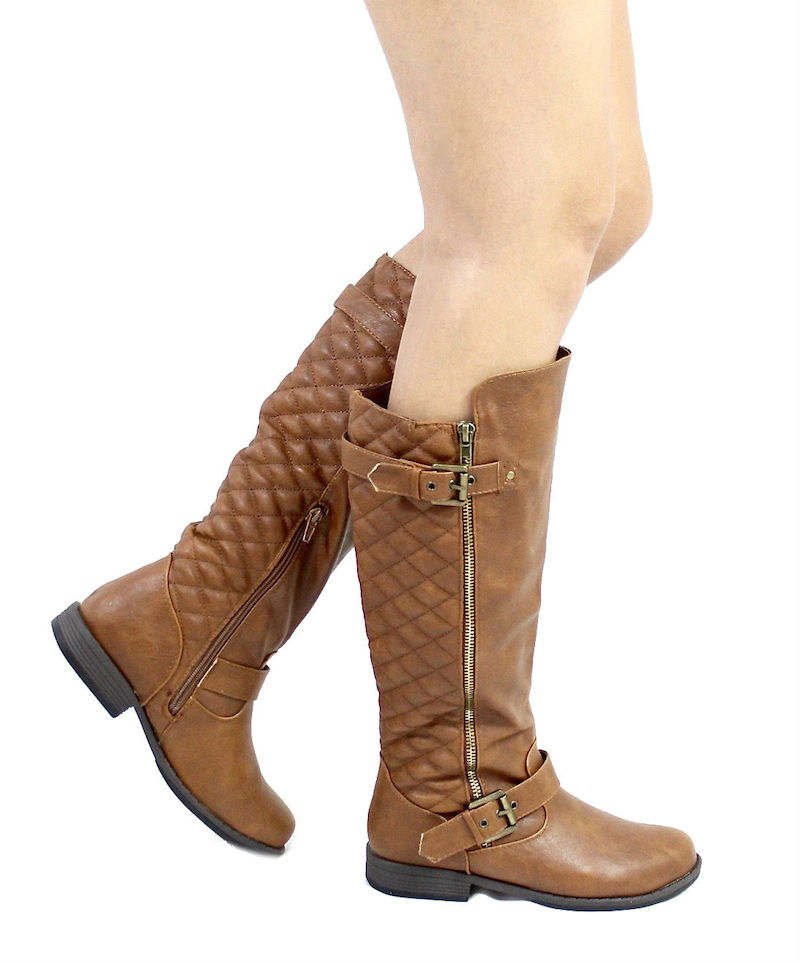 Bamboo Montage-87N Chestnut Quilted Riding knee high boots-3250