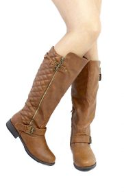 Bamboo Montage-87N Chestnut Quilted Riding knee high boots-0