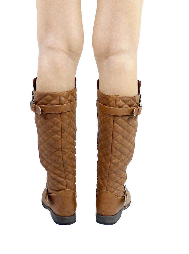 Bamboo Montage-87N Chestnut Quilted Riding knee high boots-3248