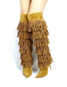 Shoe Republic Xlent Chestnut Fringe Pointy Toe over the knee Stiletto boots-0