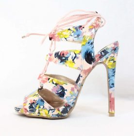 Qupid Glee-191 Blush Floral Print Strappy Lace Up Stiletto Heels Sandals-0