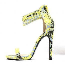 Qupid Glee 197 Snake Yellow Open Toe Stiletto Sandals -0